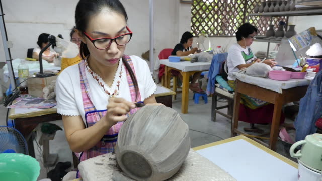 thailand traditional ceramics factory - potter stock videos & royalty-free footage