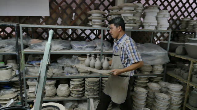 thailand traditional ceramics factory - ceramic stock videos & royalty-free footage