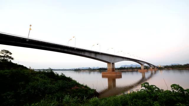 thai-lao bridge, vdo timelapse. - laos stock videos & royalty-free footage
