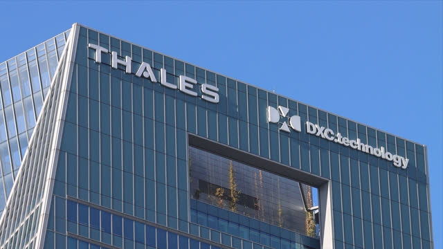 thales in the parisian business district of la défense - aerospace stock videos & royalty-free footage