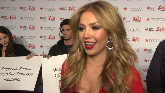 thalia on helping aha and her macy's dress, in english and spanish at go red women red dress collection -runway - fall 2015 mercedes-benz fashion... - mercedes benz fashion week stock videos & royalty-free footage