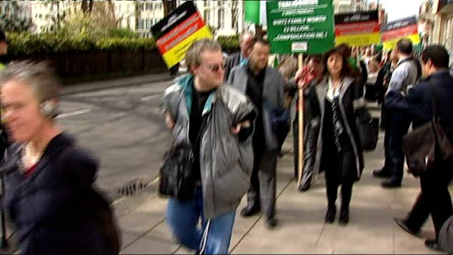 thalidomide survivors reject 'insincere' apology from drug company; t03040837 / tx 3.4.2008 general views of protesters outside german embassy - thalidomide stock videos & royalty-free footage