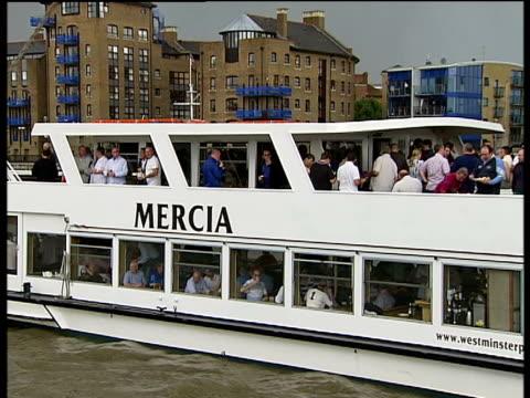 thames barge race pleasure boat 'mercia' along tower bridge as boats along under bascules - itv london tonight weekend stock videos & royalty-free footage