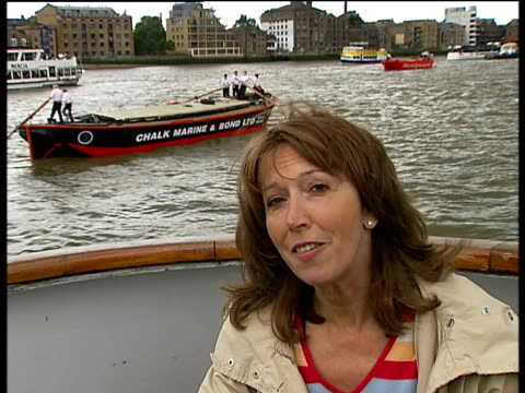 thames barge race reporter to camera - itv london tonight weekend stock videos & royalty-free footage