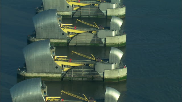 LOW AERIAL, Thames Barrier, London, England
