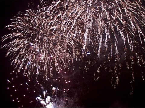 vidéos et rushes de fireworks display more of fireworks against night sky including climax of exploding multicoloured shooting stars and crowd applauding end of display - vip