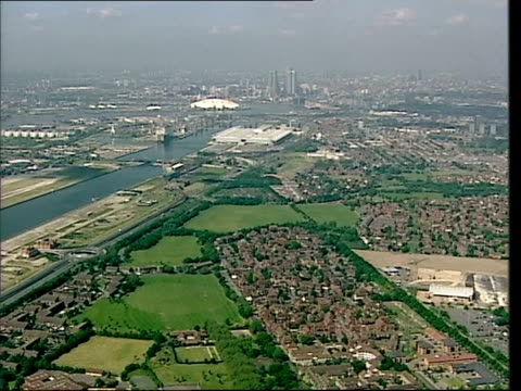 thames gateway development could be a white elephant itv london tonight phil bayles kent dartford ext air view queen elizabeth ii bridge london air... - itv london tonight stock videos and b-roll footage