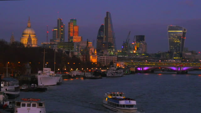 thames river and the city of london, london, england, great britain - st. paul's cathedral london stock videos & royalty-free footage
