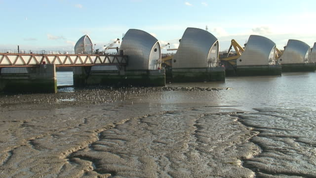 (hd1080i) thames river barrier flood control, push to sea birds - river thames stock videos & royalty-free footage