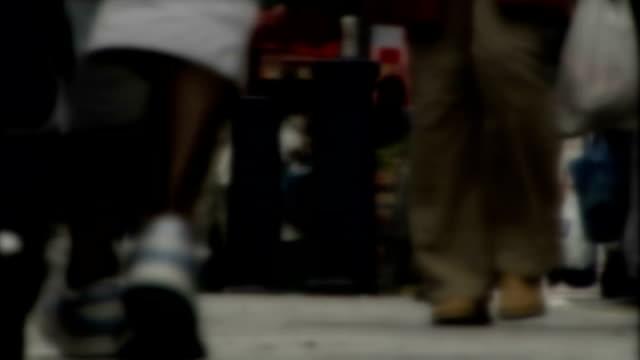 vídeos y material grabado en eventos de stock de investigation ongoing / human trafficking continues; slow motion shot of legs of african boy walking along street - torso