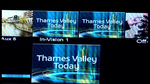 thames valley news service launches; england: int autocue in television studio to presenter talking to camera close up of on air red light close up... - raw footage stock videos & royalty-free footage
