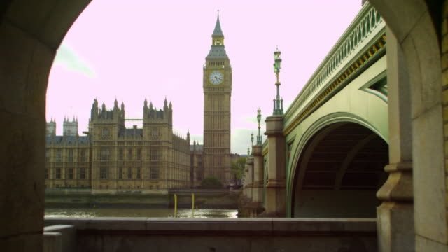 thames, westminster and big ben from a tunnel - clock tower stock videos & royalty-free footage