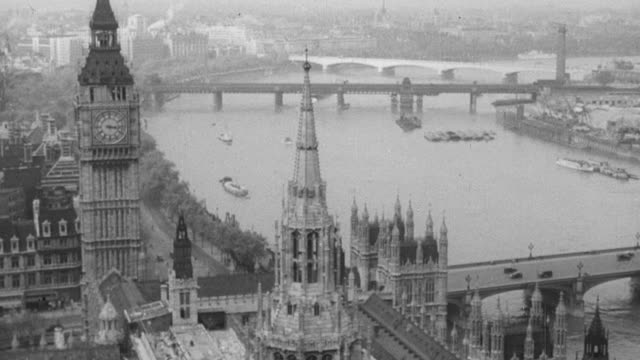 1949 MONTAGE Thames with bridges and city skyline, doorway of 10 Downing Street, politicians exiting cars and speaking with each other / London, England, United Kingdom