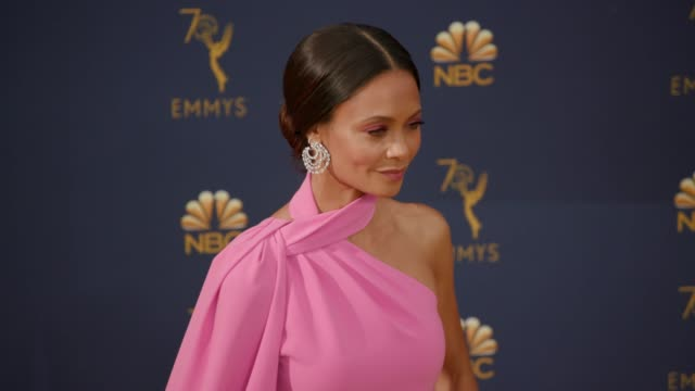 thandie newton at the 70th emmy awards arrivals at microsoft theater on september 17 2018 in los angeles california - thandie newton stock videos & royalty-free footage