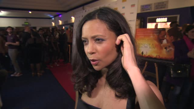 interview thandie newton on her babies first premiere and being a mother again and working with chiwetel ejiofor at half of a yellow sun uk film... - thandie newton stock videos & royalty-free footage