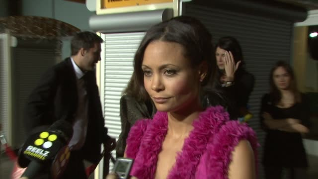 thandie newton on why simon pegg was the brunt of all her pranks on david schwimmer directing and wearing matthew williamson at the 'run fat boy run'... - thandie newton stock videos & royalty-free footage