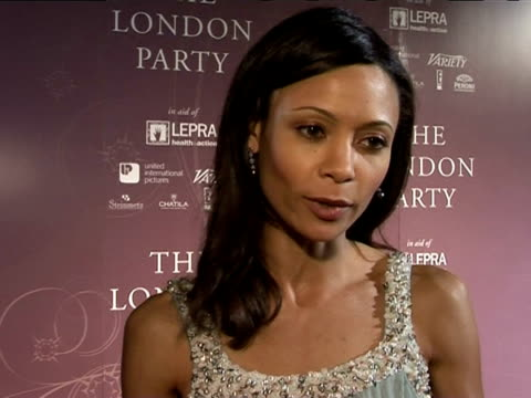thandie newton talks about her pride at being nominated for an award at the prebafta awards party the london party on february 18 2006 - thandie newton stock videos & royalty-free footage