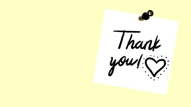 vídeos de stock, filmes e b-roll de animação postit 'obrigado' e batimentos cardíacos - note pad