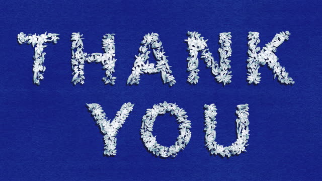 thank you - blue animated growing words - two versions and luma matte alpha channel - nhs stock videos & royalty-free footage