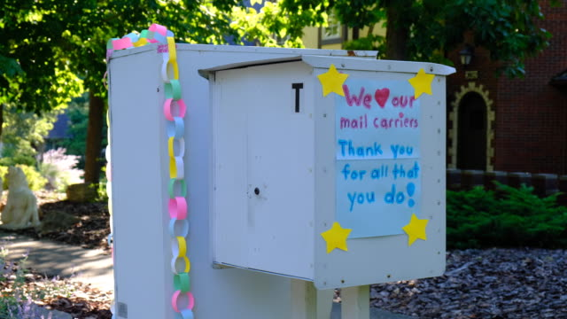 thank you note on a mailbox. bloomington, indiana, united states - : a united states post office letterbox in the hyde park neighborhood of... - admiration stock videos & royalty-free footage