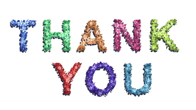 thank you - rainbow animated growing words - two versions and luma matte alpha channel - the alphabet stock videos & royalty-free footage