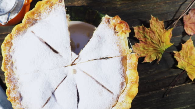 thanksgiving apple pie - crane shot stock videos & royalty-free footage