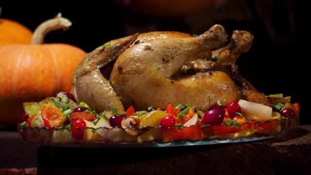 thanksgiving chicken and pumpkins - roast chicken stock videos & royalty-free footage
