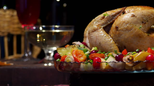thanksgiving chicken and wine - thanksgiving plate stock videos & royalty-free footage