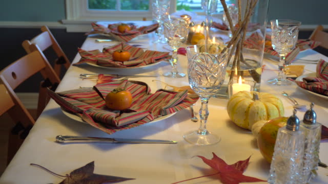 thanksgiving day table setting - table top shot video stock e b–roll