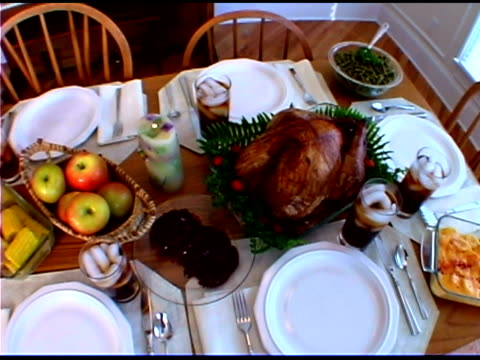 thanksgiving dinner - thanksgiving plate stock videos & royalty-free footage