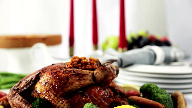 thanksgiving turkey dinner - dining table stock videos & royalty-free footage