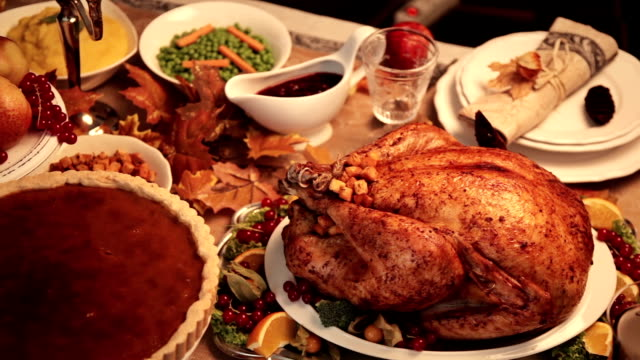 thanksgiving turkey dinner - turkey stock videos and b-roll footage
