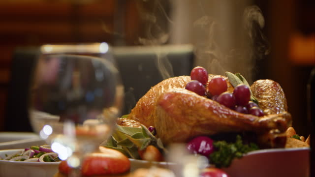 stockvideo's en b-roll-footage met slo mo thanksgiving turkey on a nicely set table - waterdamp