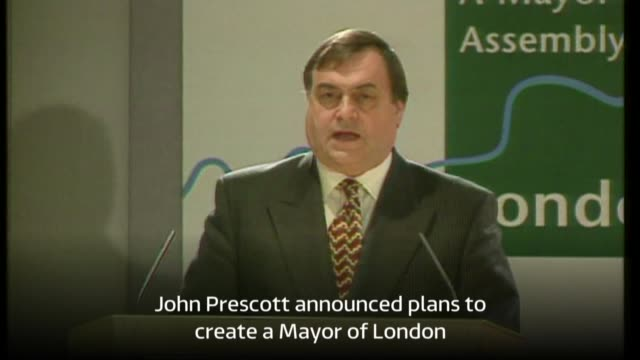 1998 DATE ENGLAND London INT Then Deputy Prime Minister John Prescott announcing plans for Mayor of London with music overlaid SOT Southbank revamp