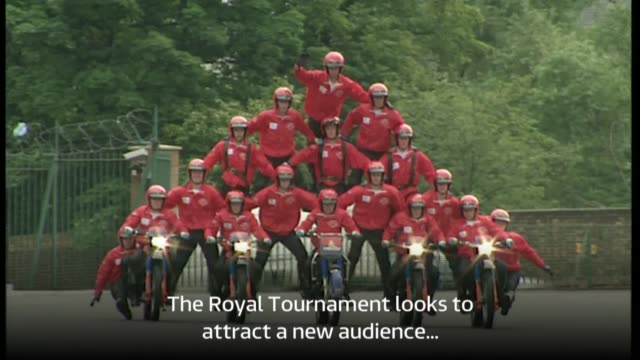 stockvideo's en b-roll-footage met news from 1997 1997 ext royal tournament motorcycle stunt team and gladiators - stunt