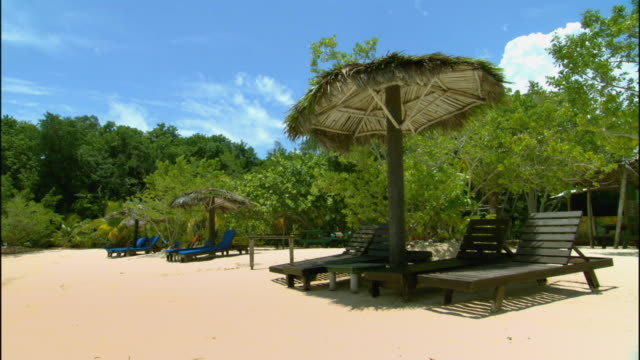 ws thatched palapas shading lounge chairs on beach / ocho rios, jamaica - jamaica stock videos and b-roll footage