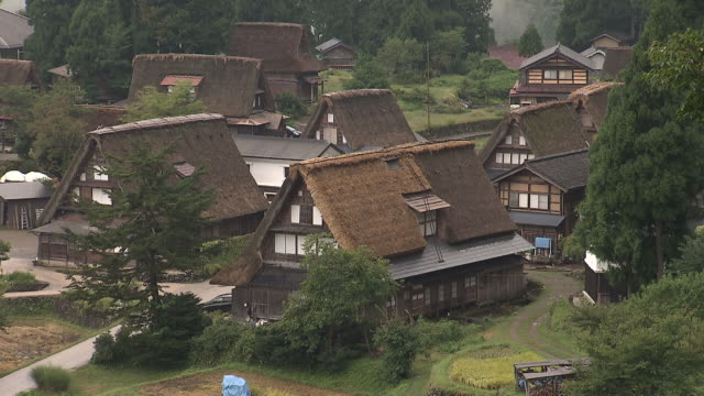 thatched roof houses in toyama, japan - toyama prefecture stock videos and b-roll footage