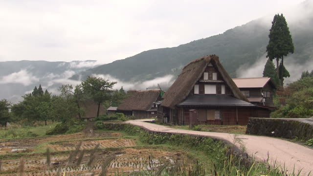 thatched roof houses in toyama, japan - thatched roof stock videos & royalty-free footage