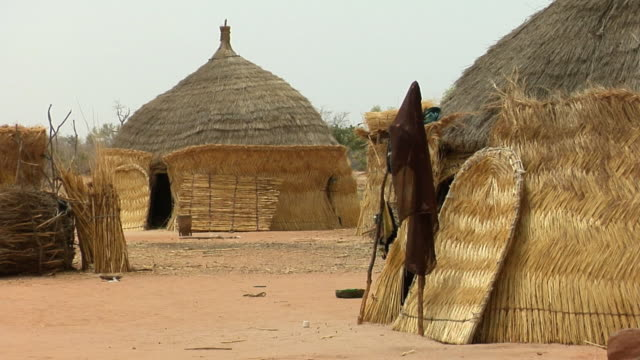 ms, thatched roof huts in village, niamey, niger - ニジェール点の映像素材/bロール
