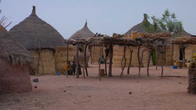 ms, thatched roof huts in village, niamey, niger - grass hut stock videos & royalty-free footage