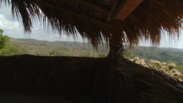 cu pan thatched roof of palapa house with landscape in background / mazunte, oaxaca, mexico - thatched roof stock videos & royalty-free footage