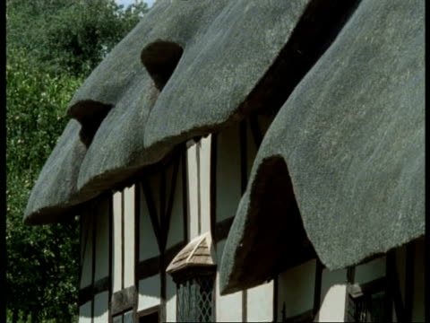 thatched tudor cottage, stratford-upon-avon - anne hathaway's house (wife of shakespeare), cu thatched roof - thatched roof stock videos & royalty-free footage