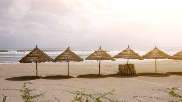 WS Thatched umbrellas on the beach, China Beach, Vietnam.