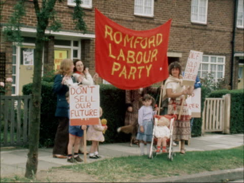 Romford MS Banner 'Romford Labour Party' MS 'Margaret Thatcher' placard MS 'Build Homes not Missiles' placard MS Thatcher from car and shakes MS...