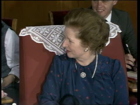 Peking Teng Hsiao Ping Chinese ViceChairman walks and greets Margaret Thatcher CS Teng Hsiao Ping MS Both seated MS Teng Hsiao Ping PAN LR Thatcher...