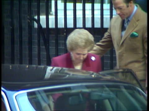 thatcher out / major in:; b) england: london: downing st: no 10: ext lms former pm margaret thatcher & husband denis thatcher out of no 10 and... - prime minister stock videos & royalty-free footage
