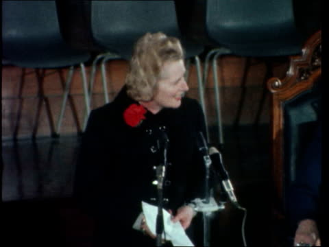 """thatcher speech; england: westminster: margaret thatcher and vip's at table pull out bv as applause: thatcher sof: """"neverteless i am... - writing stock videos & royalty-free footage"""