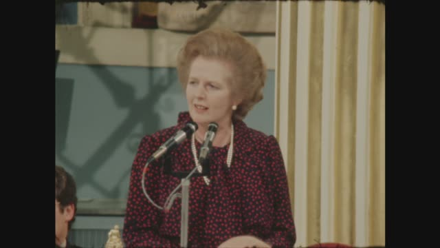 thatcher supports chancellor's budget measures in mansion house speech; england: london: mansion house: int city of london arms, guests and speaker... - mp stock videos & royalty-free footage