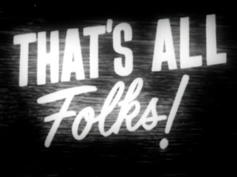 vídeos de stock e filmes b-roll de 1944 that's all folks! closing title/ audio - fim