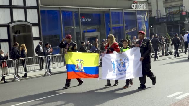 the 100th new york city veterans day parade, which is an annual event produced by the united war veterans council. - ecuadorian ethnicity stock videos & royalty-free footage